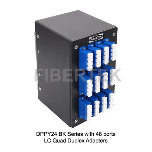 Din Rail Fiber Patch Panel DPPY24 BK Series LC Quad Duplex Adapters