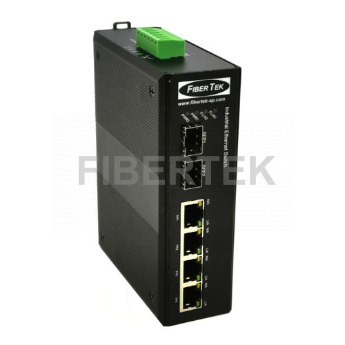 Industrial Gigabit Ethernet Converter FCNID-4GN-2GS Series with 2 SFP slots and 4 RJ45 ports